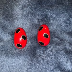 Red with black ovals clip on earrings